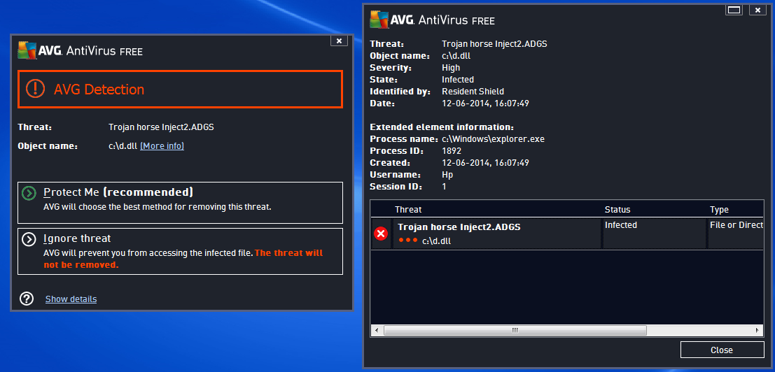 screenshot of my screen showing the result of the antivirus